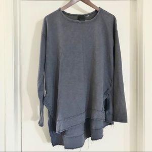 HEATHER drapey grey blue sweatshirt | M